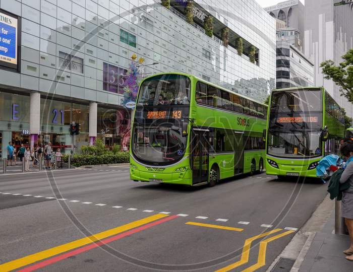 Double Decker Buses In Singapore City