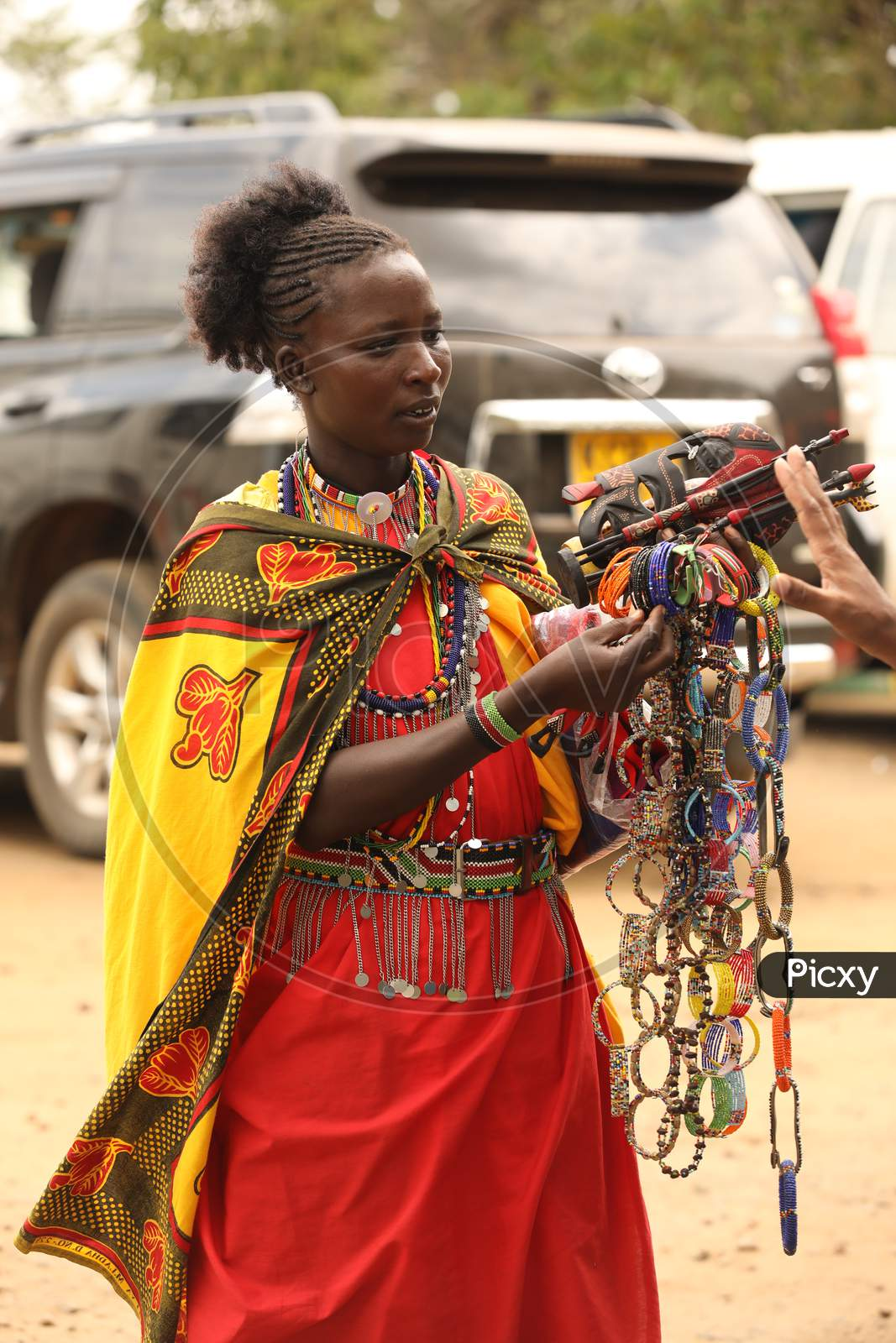 Traditional accessories seller tribal woman