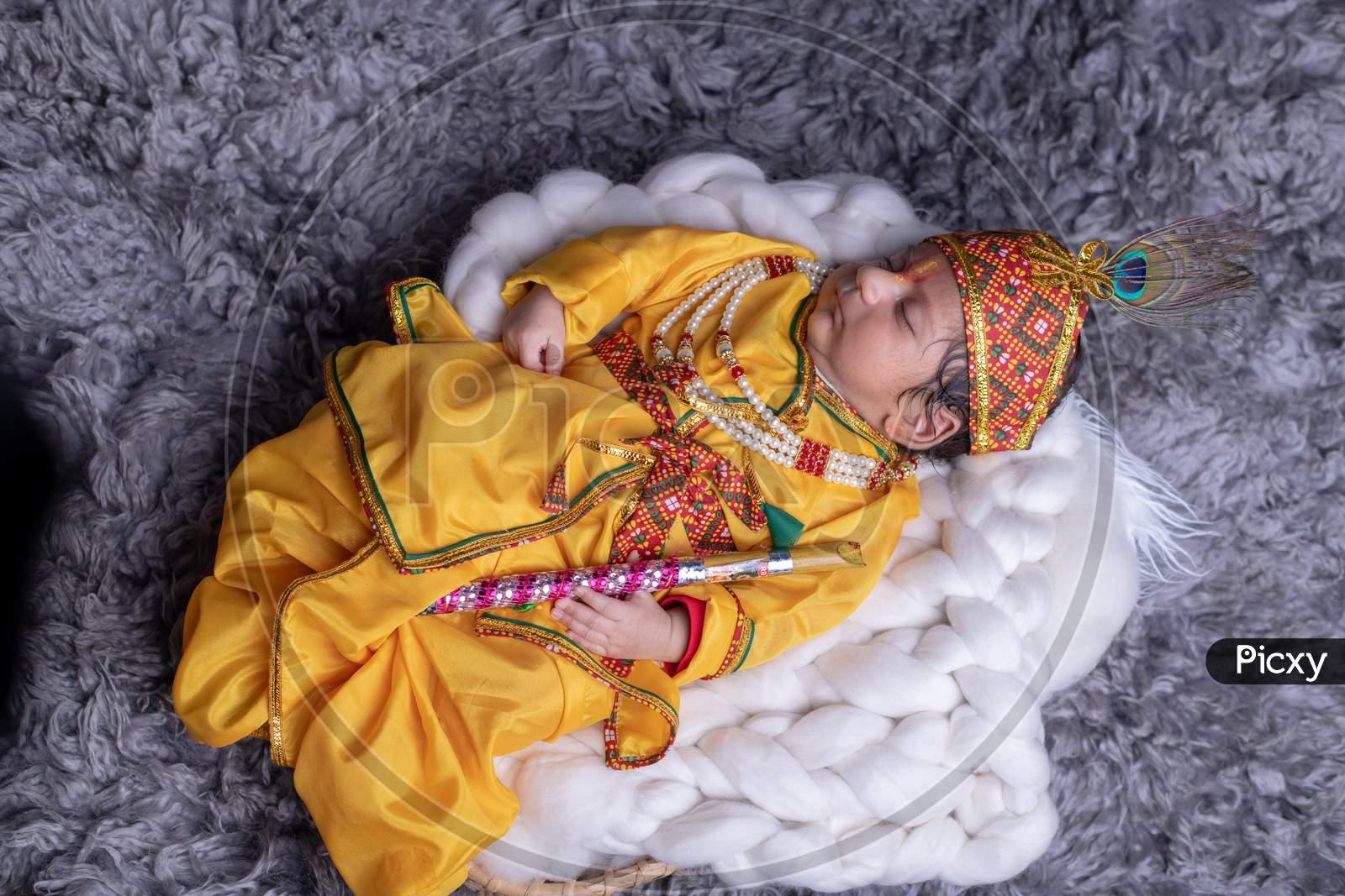 Cute Little Baby In Lord Sri Krishna Clothes  Sleeping Calmly