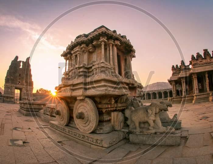 Stone Chariot In Vittala Temple At Hampi