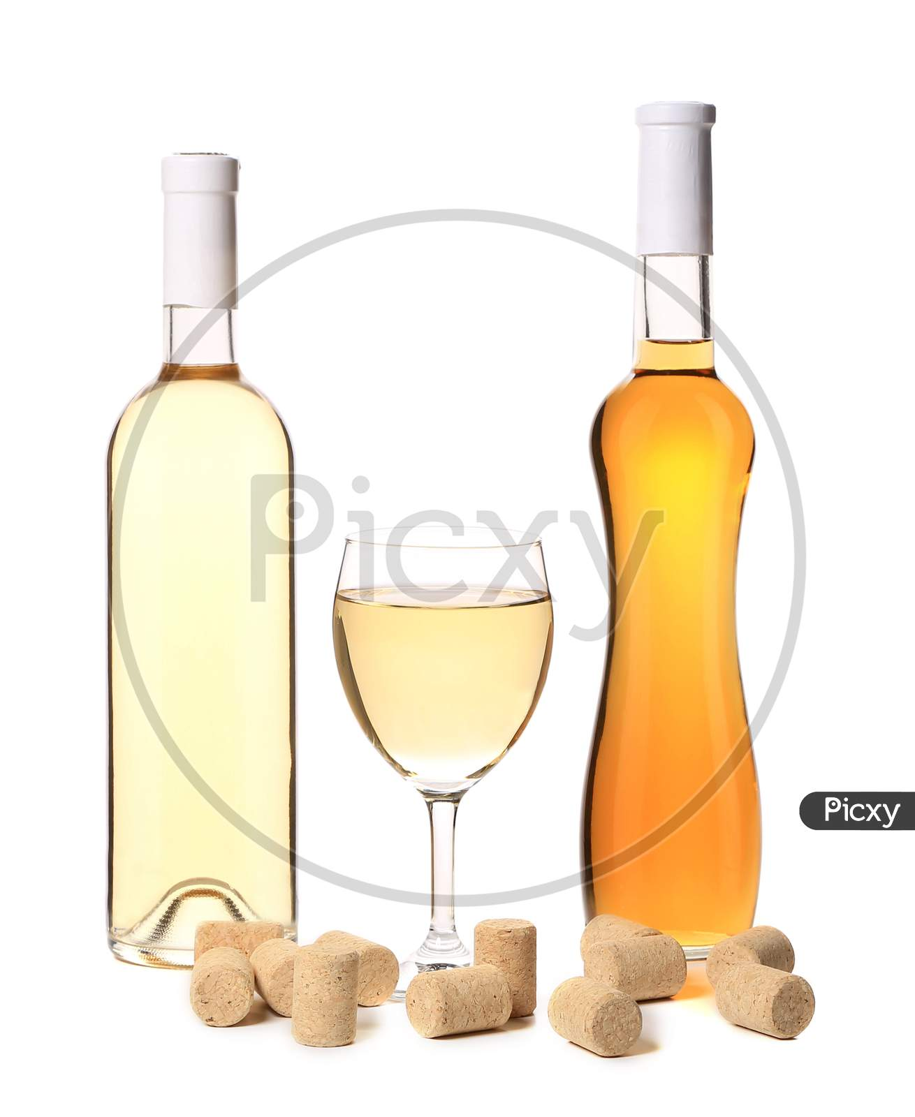 White And Fruit Wine Composition. Isolated On A White Background.