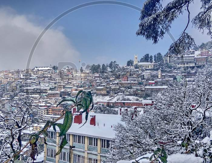Beautiful ever view of Shimla city during winter season.