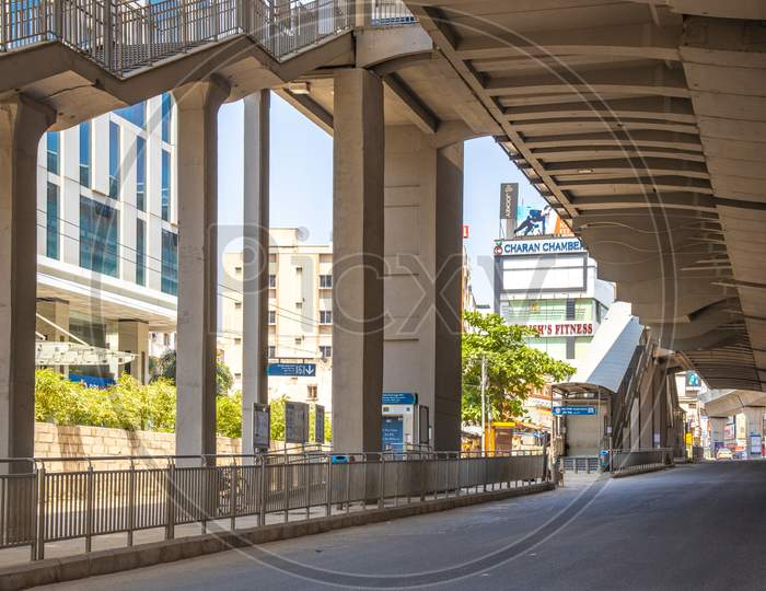 Janata Curfew , Deserted Roads At Durgam Cheruvu Metro Station  in Hyderabad  As Indian Prime Minister Narendra Modi Called For a 14 Hour Janta  Curfew Or Self-imposed  Quarantine To Break The  Highly Contagious  COVID 19 Or Corona Virus Spread