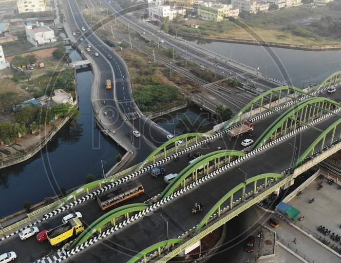 Top view of Velachery Bridge and Railway Station