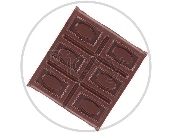 Close Up Of Chocolate Bar. Isolated On A White Background.