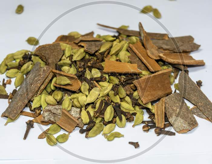 Heap Of Garam Masala On A White Background,Isolated.Indian Spices.