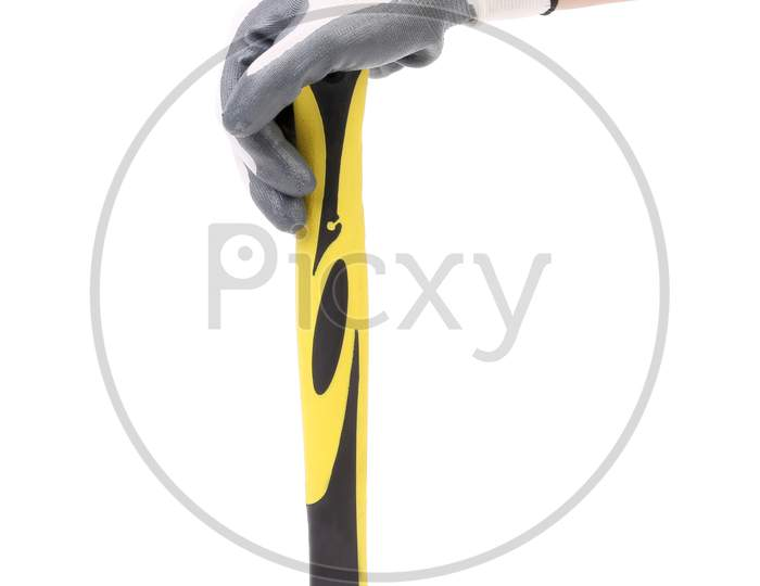 Hand In Glove Holding Metal Hammer. Isolated On A White Background.
