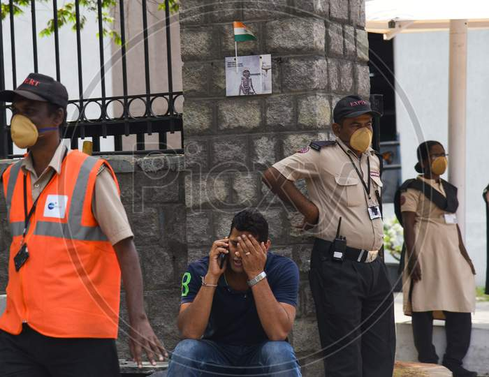Security at Raheja Mindspace IT Park wearing protective Face masks as a preventive measure from CoVID19, Corona Virus.