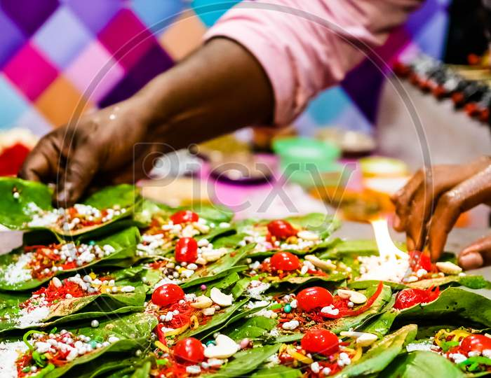 Collection Of Betel Leaf Banarasi Paan And Fire Paan Displayed For Sale At A Shop With Selective Focus And Blurred Background.
