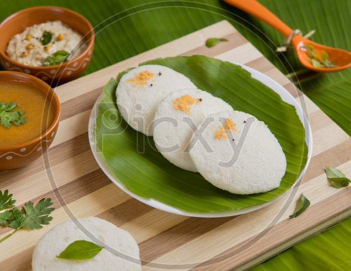 Idli Sambar Chutney South Indian Breakfast