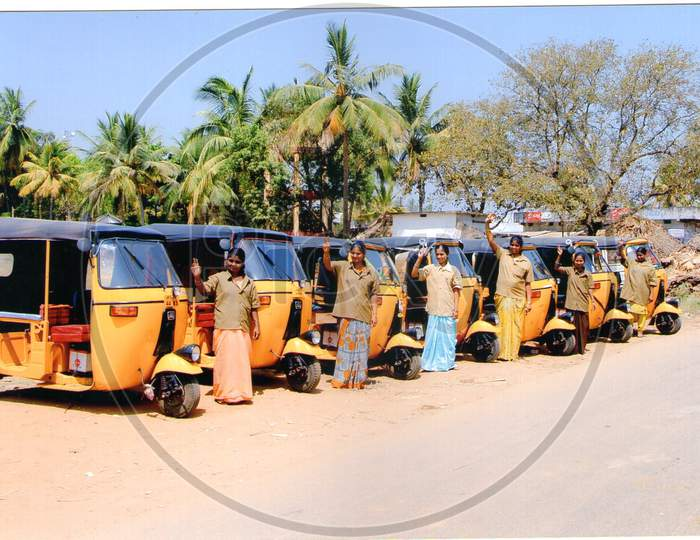 Woman Auto Rickshaw Drivers In an Indian Rural Village, Woman Empowerment