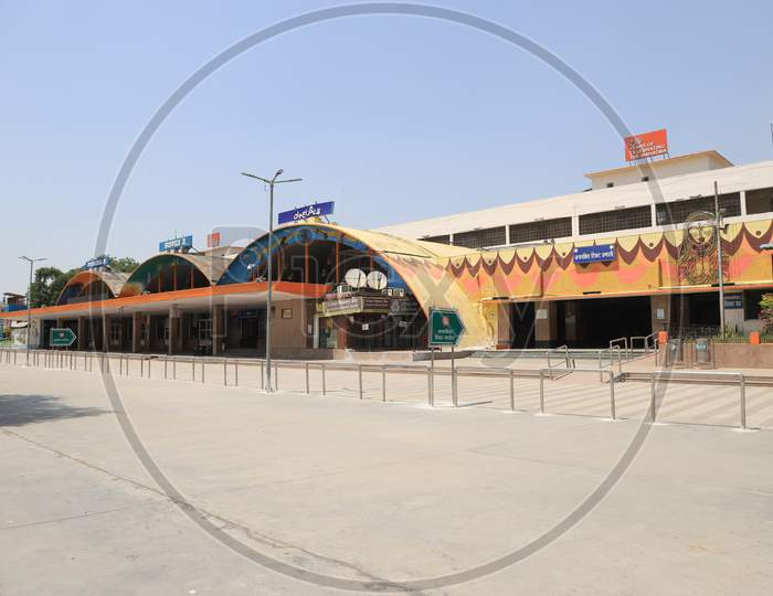 A View Of Empty Railway Station During Nationwide Lockdown In Wake Of Coronavirus Pandemic At Prayagraj Station In Prayagraj, March 12, 2020
