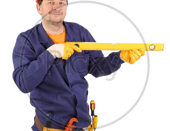 Worker In Hardhat Holding Ruler. Isolated On A White Background.