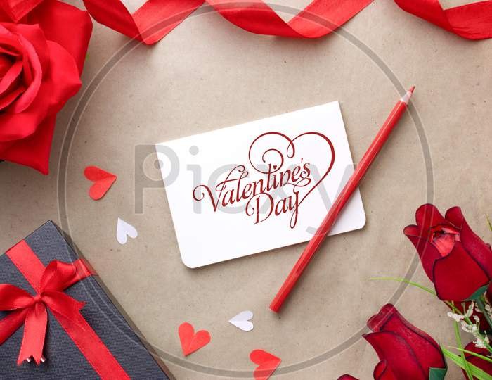 Flat lay With Decorated Background For Valentine Day Greeting