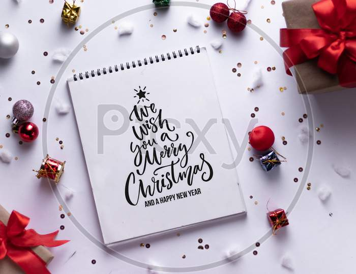 Christmas Greetings Flat Lay Forming a background