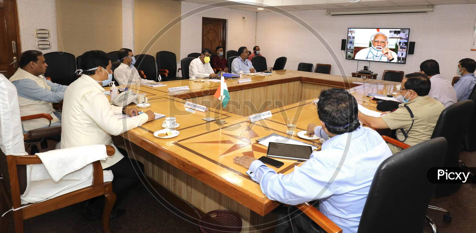 Assam Chief Minister Sarbananda Sonowal Attending The Prime Minister'S  Video Conference With Chief Ministers About Nationwide Lockdown Amidst Coronavirus Or Covid-19 Outbreak  In Guwahati  On April 27,2020