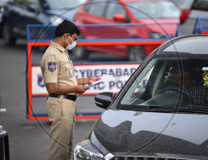Hyderabad Police Checking The Commuters On Roads During Lockdown Period  For Corona Virus Or COVID-19 Outbreak In India
