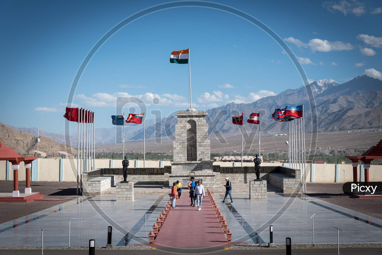 Leh, Kashmir, India - September 20 2019: Tourists at the beautiful and spectacular high altitude war memorial in Leh on bright summer day