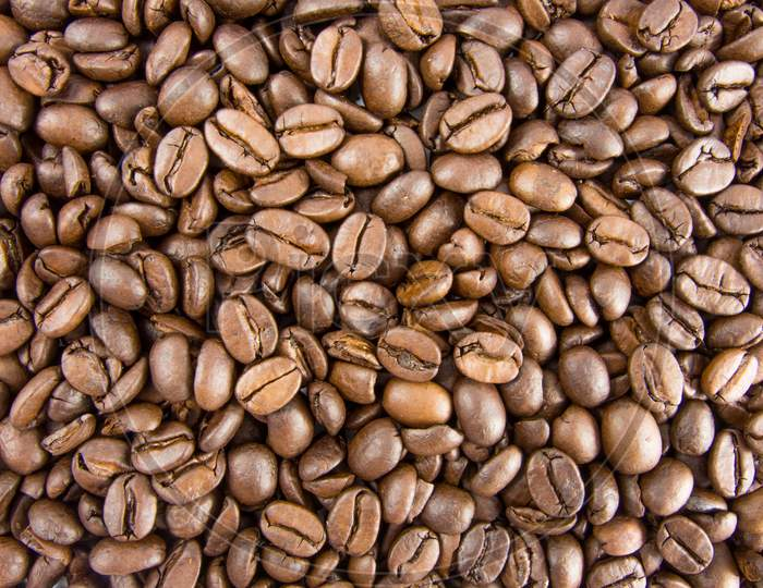 coffee beans background view from above