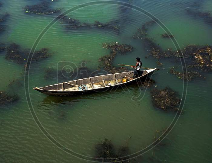fisherman boat at jhargram west bengal india