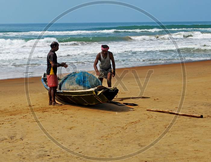 fisherman at puri sea beach