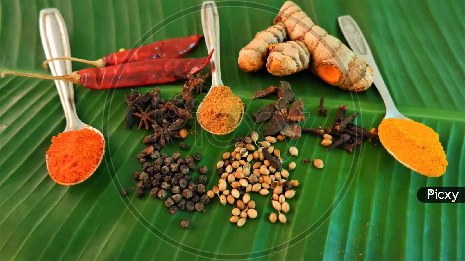 indian kerala masala spices on banana leaf