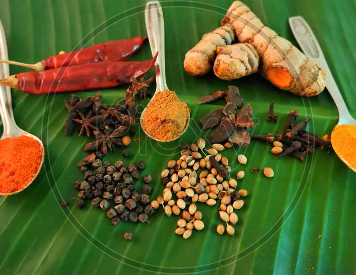 indian kerala masala spices on banana leaf