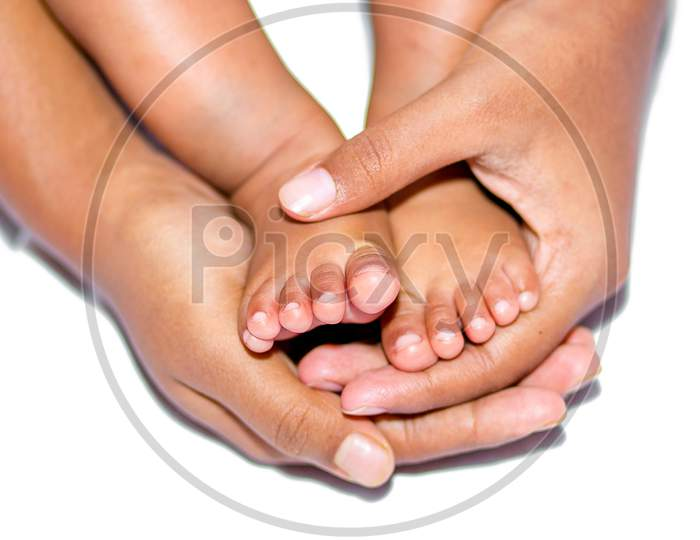 A Asian Baby Hand Holding Mother Finger
