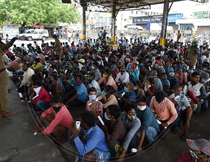 Migrant Labourers From Bihar Wait To Get Thermal Screening And Document Verification Before They Leave To Them Native Places During The Ongoing Nationwide Lockdown In The Wake Of Coronavirus Pandemic, In Chennai