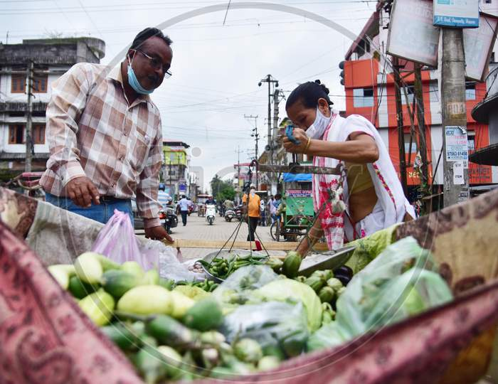 A Woman Selling Vegetables On Roads During Nationwide Lockdown Amidst Coronavirus Or COVID-19 Pandemic in Nagaon on May 14 2020