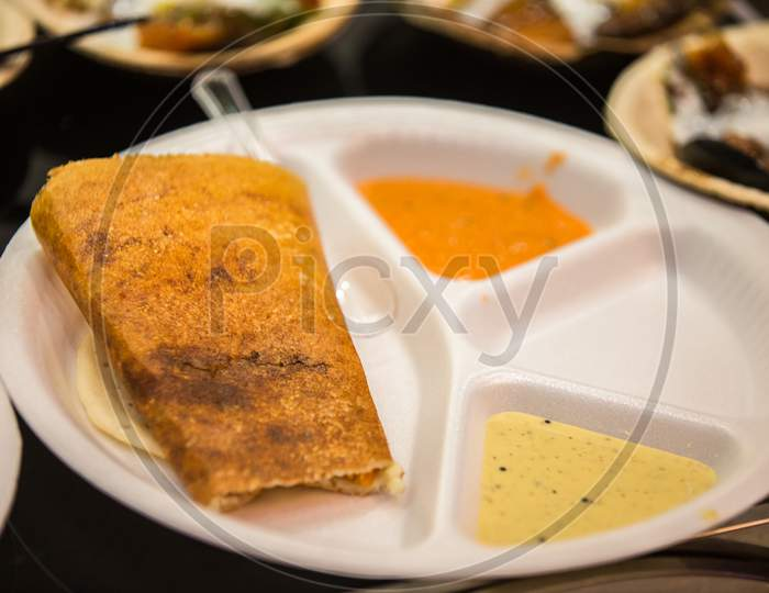 Masala Dosa In A Plate, South Indian Dish, Food Concept