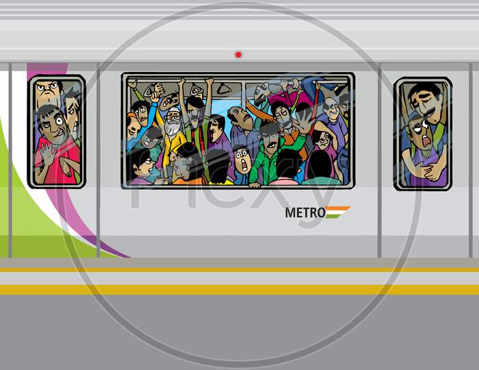 Illustration of passengers crowd in the metro
