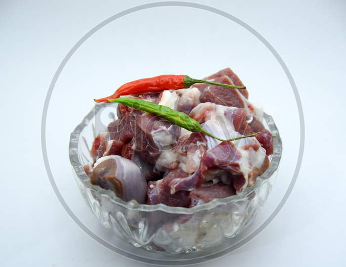Chopped raw meat on white background , top view . raw Lamb and mutton meat isolated.