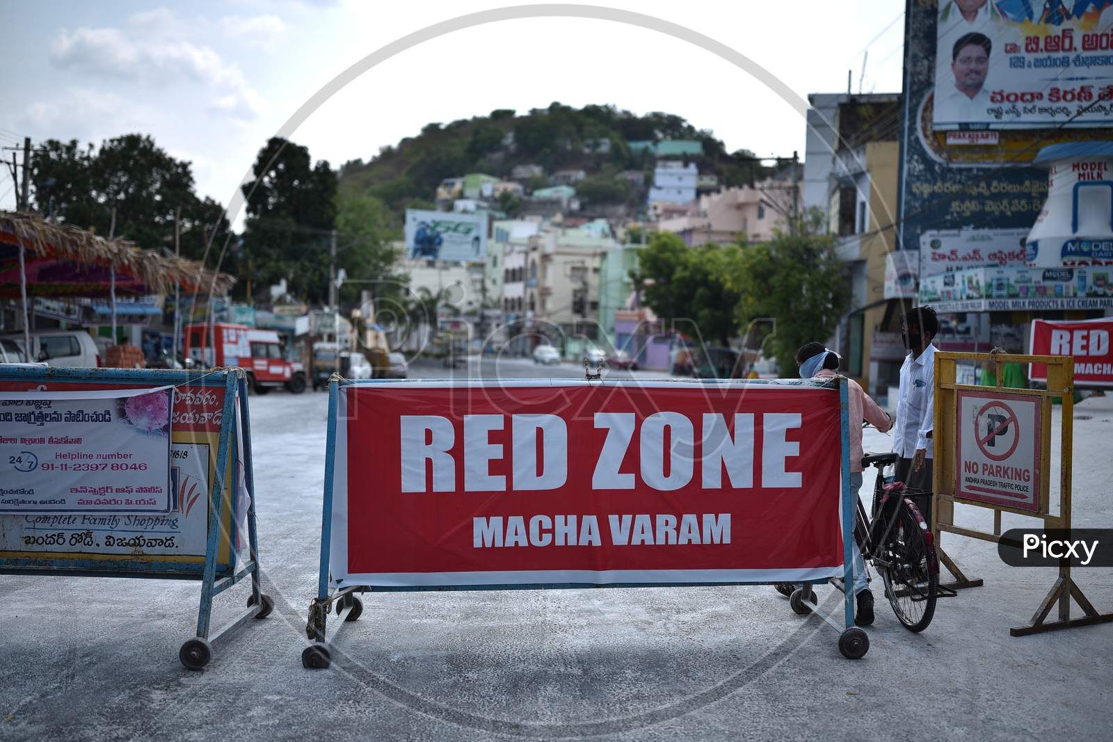 A Road Is Blocked With The Barricades At A Covid-19 Contaminated Zone During The Nationwide Lockdown Amid Coronavirus Pandemic In Vijayawada.