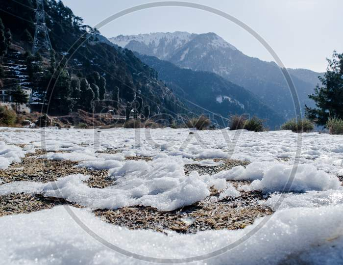 Natural winter background with fresh snow texture at Nathatop, Patnitop Jammu