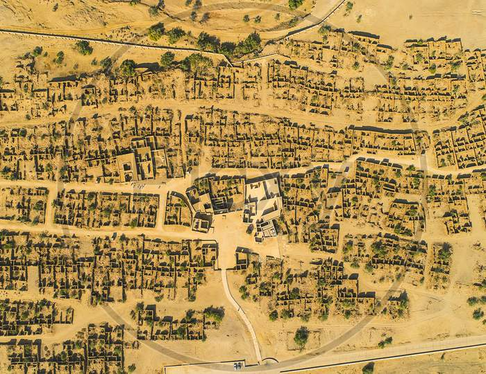 Aerial View Of Under Construction Houses In Jaisalmer,Rajsthan, Architect, Building Construction, City Top View Background - Image