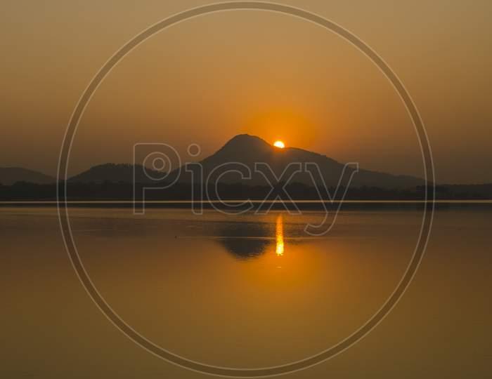 sunset at baranti lake purulia