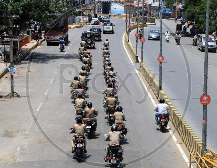Police personnel take part in a flag march during a government-imposed nationwide lockdown as a preventive measure against the COVID-19 or Coronavirus in Prayagraj, May 2, 2020.