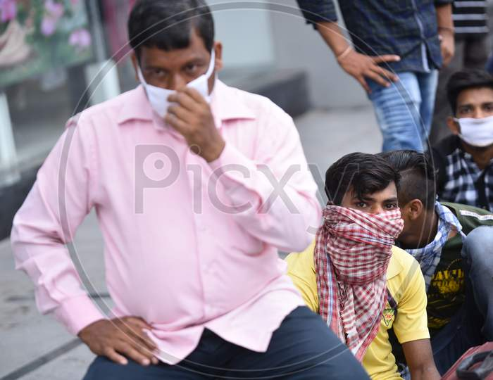 Migrant Workers from UP, Bihar and Jharkhand wait to get their registration done to board a Shramik Special Train in Secunderabad. May 19,2020, Hyderabad.
