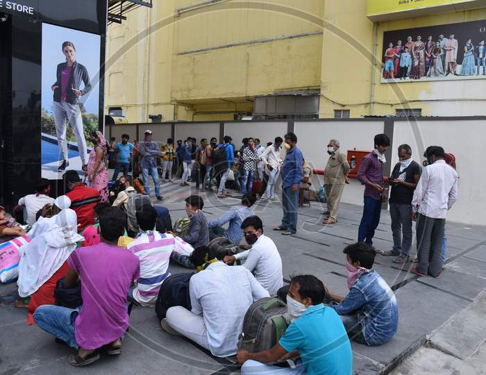 Migrant Workers from Bihar, Jharkhand and UP get themselves registered from Cyberabad Police to get onto a Shramik Special Train during ongoing Nationwide Lockdown amid Coronavirus Pandemic, Kukatpally,Hyderabad, May 19,2020.