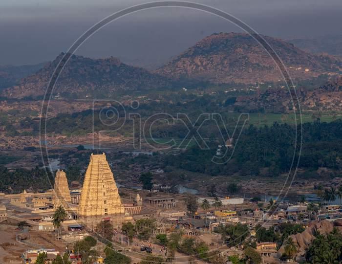 View Of Virupaksha Temple From Matanga Hill , Hampi