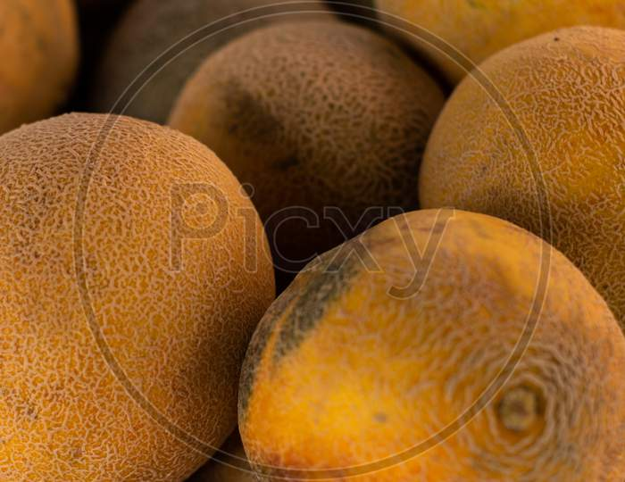 Yellow Rind Melons. Fresh Tropical Fruit.