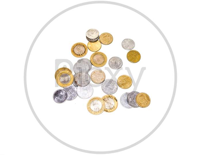 Indian circulating coins collection on isolate white background.