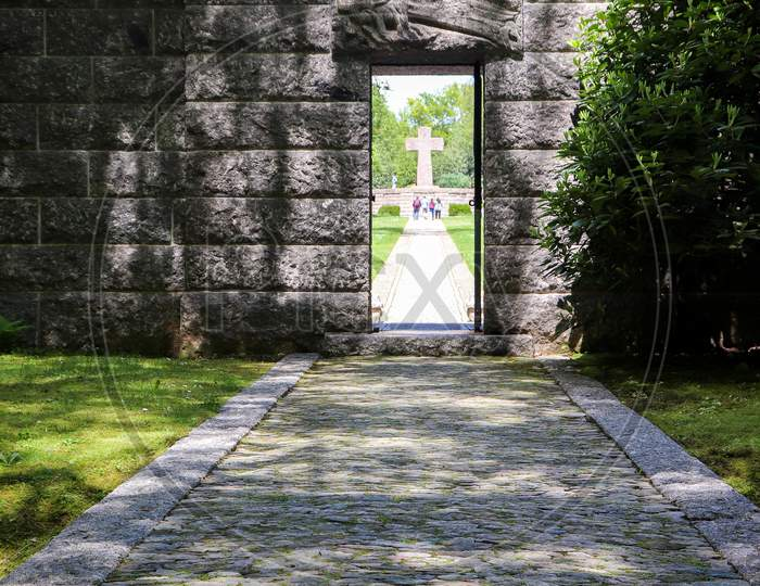 Stone Wall At A Military Cemetery