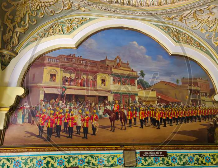 September 8, 2019- Mysore, India: A Painting Of Soldiers On The Walls Of Mysore Royal Palace In Mysore, India