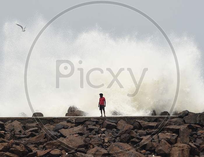 High Tide At Kasimedu Fishing Harbour In Chennai Due To Super Cyclone Amphan, Chennai, India. May 23, 2020