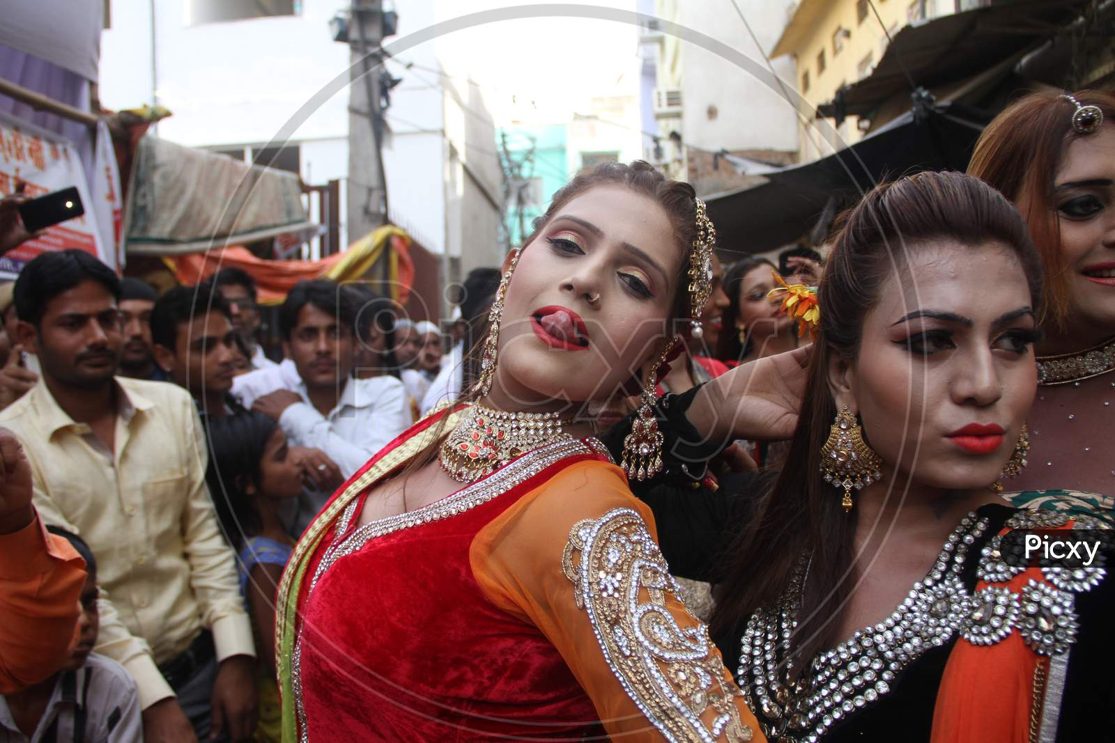 Indian Eunuchs Dance At A Procession During The Urs Festival, At The Shrine Of Sufi Saint Khwaja Moinuddin Chishti In Ajmer, India. Thousands Of Sufi Devotees From Different Parts Of India Travel To The Shrine For The Annual Festival, Marking The Death Anniversary Of The Saint.