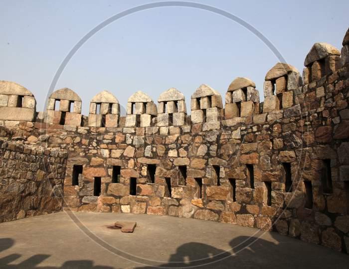 Walls in Tughlakabad Fort  in New Delhi