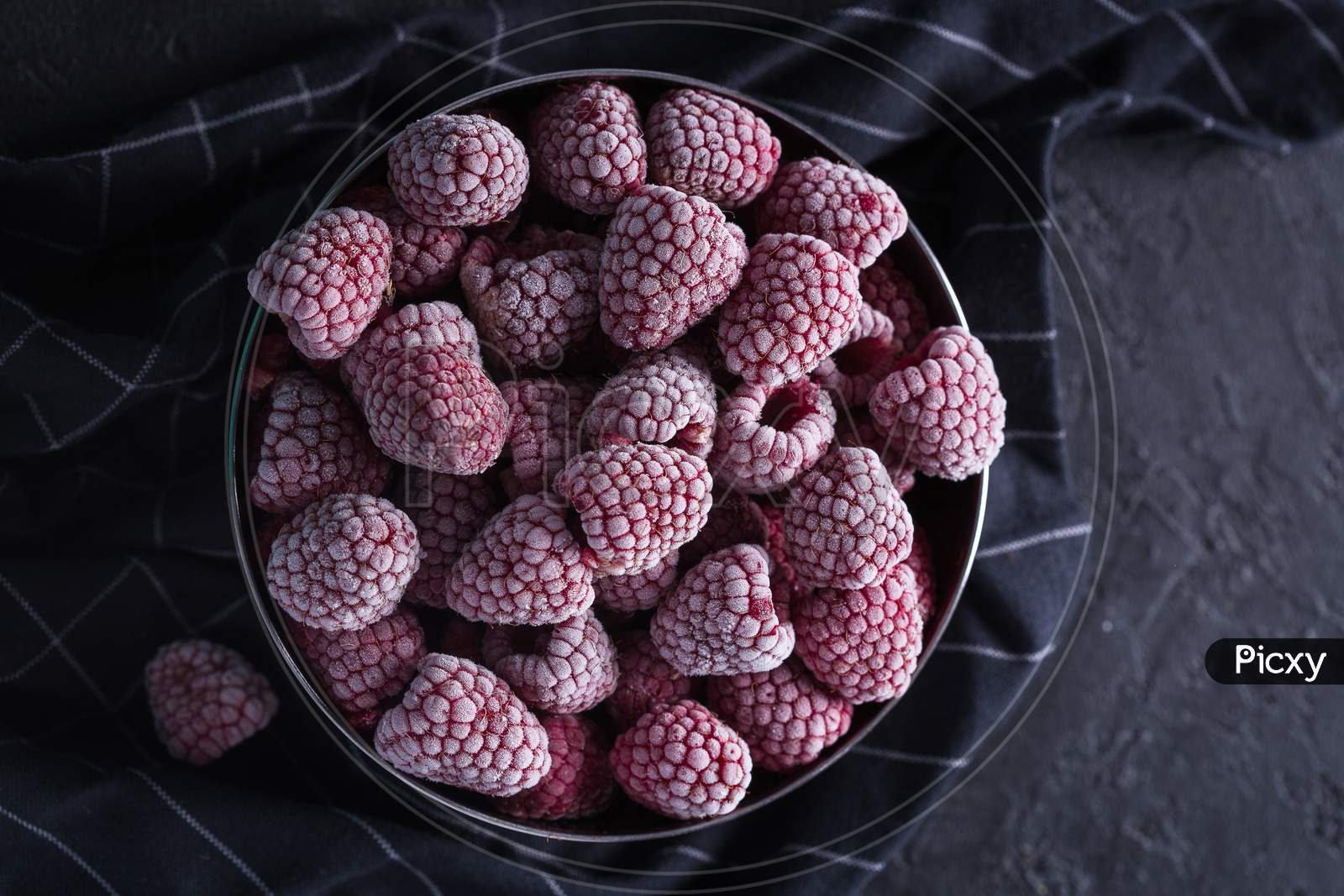 Collection / Group Of Healthy Frozen Raspberry