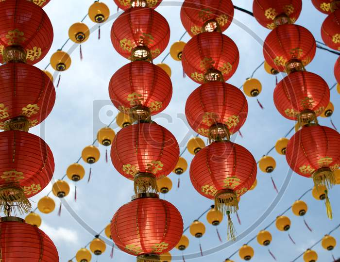 Red Chinese Paper Lantern At Thean Hou Temple